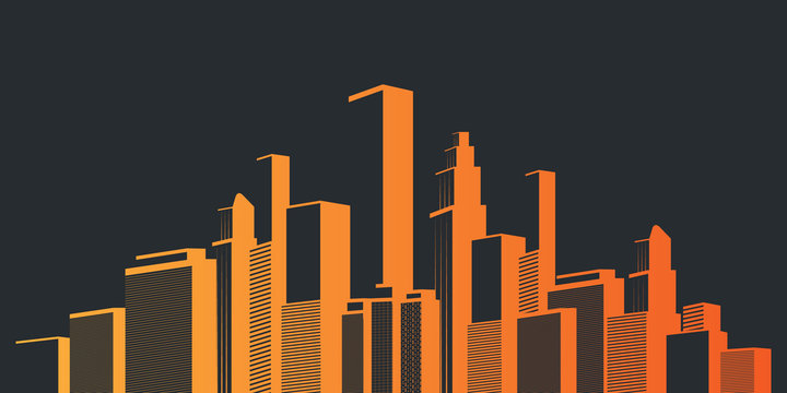 Metropolis - Colorful Urban Cityscape Silhouette, Vector Design