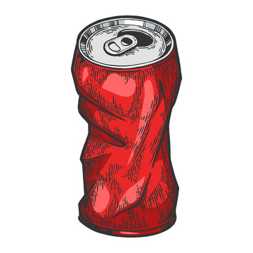 Rumpled metal can color sketch engraving vector illustration. Scratch board style imitation. Hand drawn image.