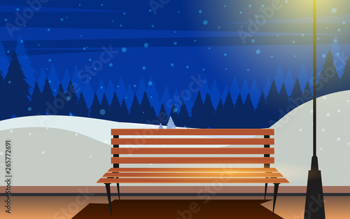 Fantastic Wooden Bench In The Garden In Night In Winter Stock Image Machost Co Dining Chair Design Ideas Machostcouk