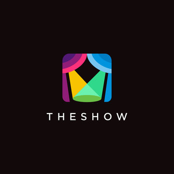 modern colorful minimalist lighting stage show logo icon vector template on black background