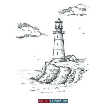 Hand drawn lighthouse. Template for your design works. Engraved style vector illustration.