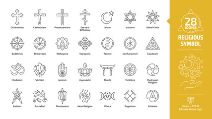 Religious symbol editable stroke outline icon set with christian cross, islam crescent and star, judaism star of david, buddhism wheel of dharma, taoism yin and yang religion line sign.