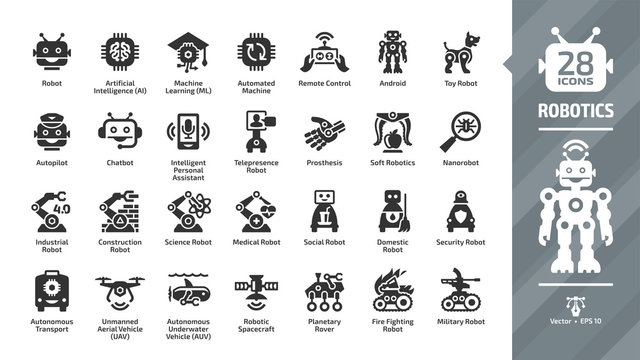 Robotics industry glyph icon set with robot and bot technology, artificial intelligence AI, machine learning ML, automated and remote control, smart chip, android, toy and more tech symbols.