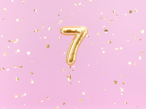 Seven year birthday. Number 7 flying foil balloon on pink. Seven-year anniversary gold confetti background. 3d rendering