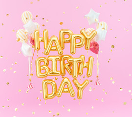 Happy birthday text gold foil balloons on pink background, 3d rendering