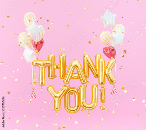Thank You text gold foil balloons on pink background, 3d rendering