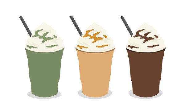 frappe menu - green tea,coffee,chocolate