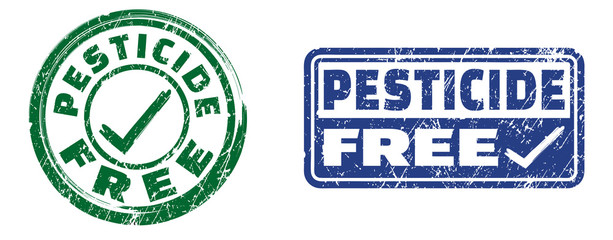 Pesticide free stamps in green and blue colors. Grunge texture. Vector illustration.