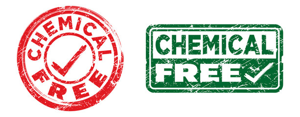 Chemical free stamps in red and green colors. Grunge texture. Vector illustration.