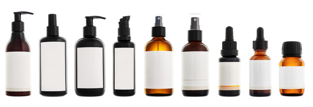 Collection of cosmetic bottles isolated on white background
