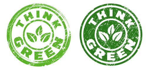 Think green stamps in green and dark grey colors. Grunge texture. Vector illustration.
