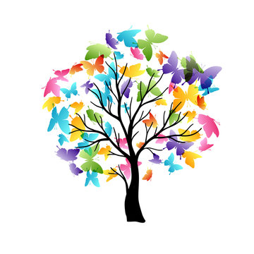 Tree with flying around butterflies. Vector isolated decoration element from scattered silhouettes. Conceptual illustration of growth and life .