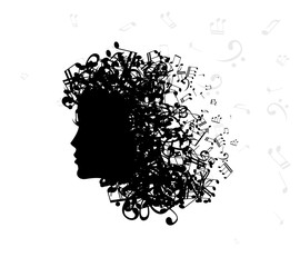 Woman with hair from notes. Vector isolated decoration element from scattered silhouettes. Conceptual illustration of beauty and style.