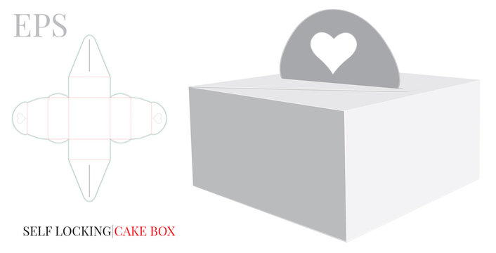 Cake Box with Handle Heart Template, Vector with die cut / laser cut layers. Delivery Cake Box, Self lock Box. White, blank, clear, isolated Cake Box mock up on white background Packaging Design