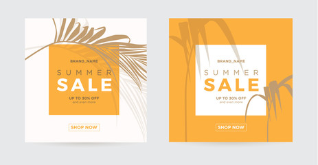 Sale banner template with palm leaves silhouette. Background for a banner or card for the hotel, beauty salon, spa, restaurant, club. Vector illustration.