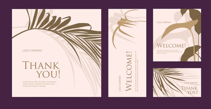 A set of postcard with the words of gratitude. Design template of business cards with with palm leaves silhouette for the hotel, beauty salon, spa, restaurant, club. Vector illustration