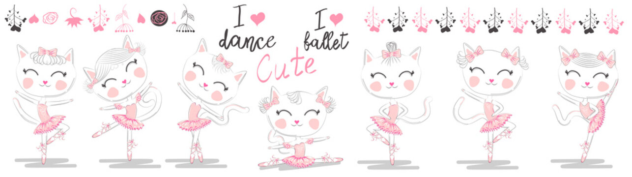 Set of seven cute white ballerina cats in pink ballet tutu and pointe
