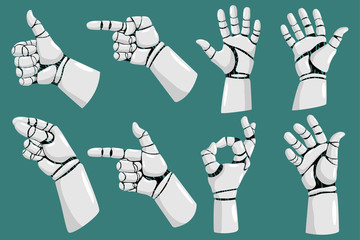 Robot hands with different gestures vector cartoon set isolated on white background.