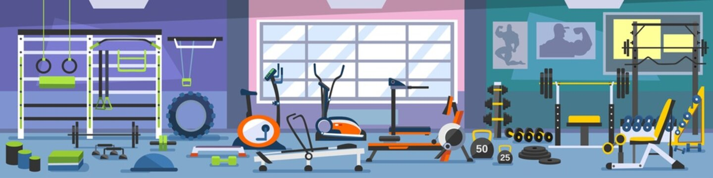 Gym zoning concept. Gym of fitness center interior design in cartoon style with crossfit equipment and Elliptical Machine Cross Trainer, Treadmill, Rowing Machine and Bike. Vector Gym Equipment