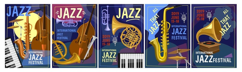 Jazz festival design concept. Colorful jazz party invitation posters set in cartoon style. Vector illustration Fotomurales