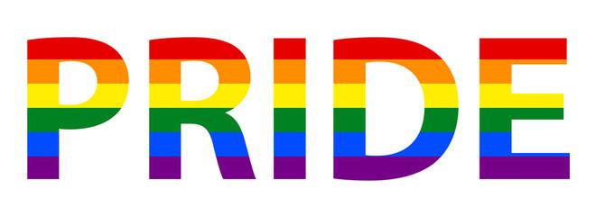 LGBT (Lesbian Gay Bisexual & Transgender) Pride Text In Rainbow Flag.