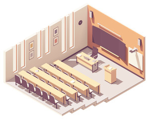 Vector isometric university lecture hall
