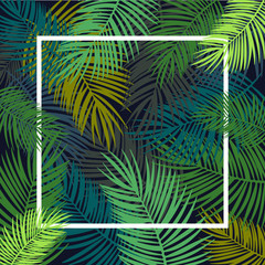 Foto op Plexiglas Tropische Bladeren Tropical leaves background, flyer template, illustration