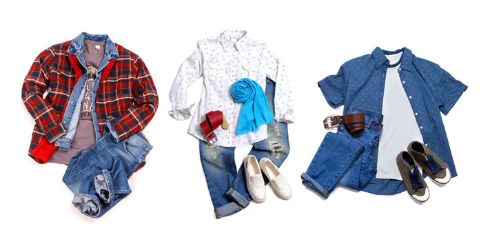 Men's and women's casual clothes and accessories. Shirt, t-shirt, jeans, shoes isolated on white background