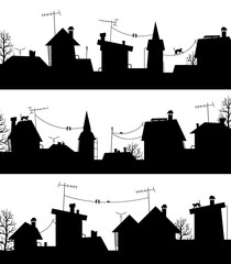 Сity rooftops.Сity silhouette.Architecture and building silouettes