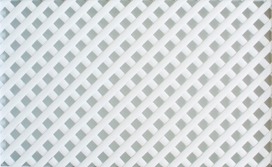 White, wooden, decorative lattice, weave the wooden slats together.
