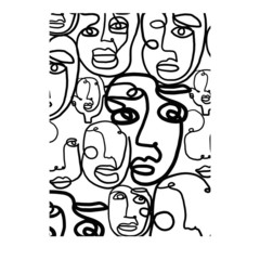 Abstract cubism face. One line drawing. Modern contemporary doodle hand drawn art