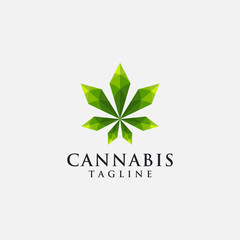 Modern geometric logo inspiration of hemp/cannabis/marijuana, with lowpoly style
