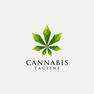 Modern geometric hemp cannabis marijuana logo icon vector template, with lowpoly style on white background