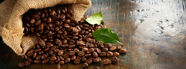 Panorama banner of fresh roasted coffee beans