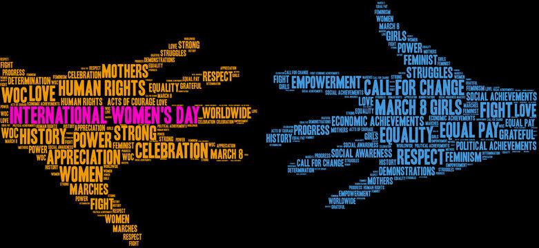 International Women's Day Word Cloud on a black background.