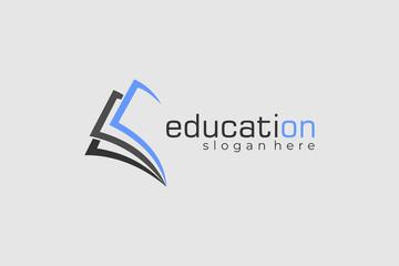 Open Book Education Flat Line Vector Logo Design