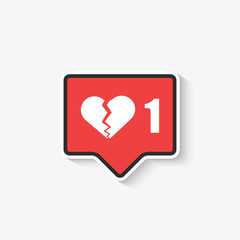 social media like broken heart Icon in Vector