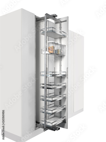 Pensile dispensa da cucina su sfondo bianco\
