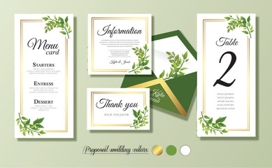 Wedding menu card, information, thank you, table number, envelope. Floral design with green watercolor leaves, foliage greenery decorative frame print. Vector elegant cute rustic greeting, invite. Wall mural