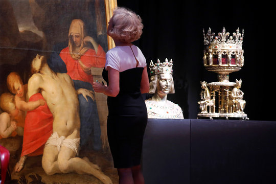 Treasures of Notre-Dame Cathedral, are displayed during a meeting in Paris