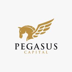 powerfull elegance pegasus logo icon inspiration