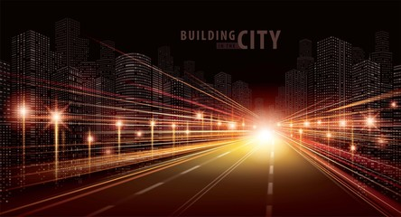 Fototapete - The light trails on the road and modern building vector