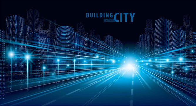 The light trails on the road and modern building vector, city, cityscape