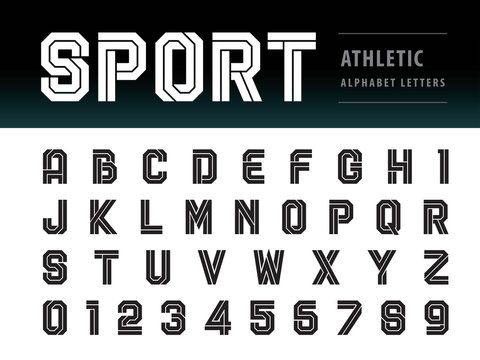 Vector of Athletic Alphabet Letters and numbers, Geometric Font Technology, Sport, Futuristic Future