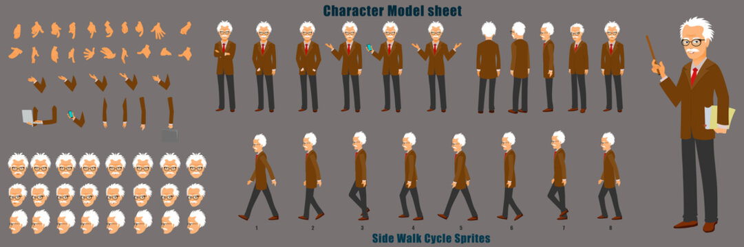 Professor Character Model Sheet with Walk cycle Animation Sequence