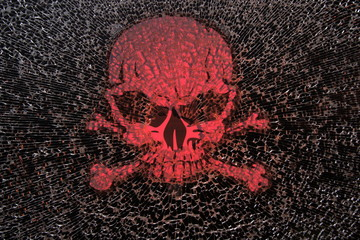 Danger.A deadly poison with a skull and bones.Broken glass .Death