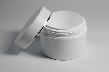 white cosmetic jar