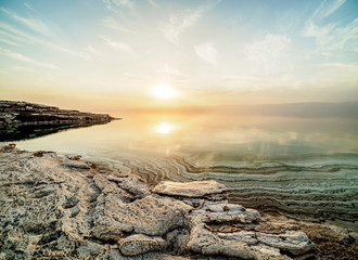 Salt Formations on the shore of the Dead Sea at sunset, Karak Governorate, Jordan