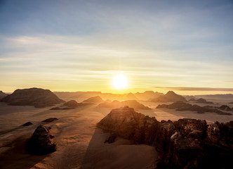 Landscape of Wadi Rum at sunrise, aerial view from a balloon, Aqaba Governorate, Jordan