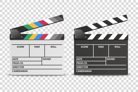 Vector 3d Realistic Opened White and Black Movie Film Clap Board Icon Set Closeup Isolated on Transparent Background. Design Template of Clapperboard, Slapstick, Filmmaking Device. Front View